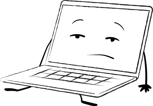laptop cartoon, exhausted