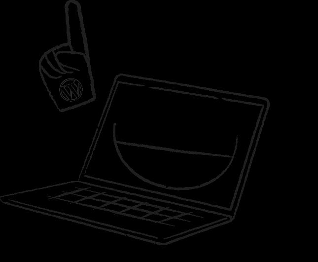 laptop cartoon waving foam finger with WordPress logo
