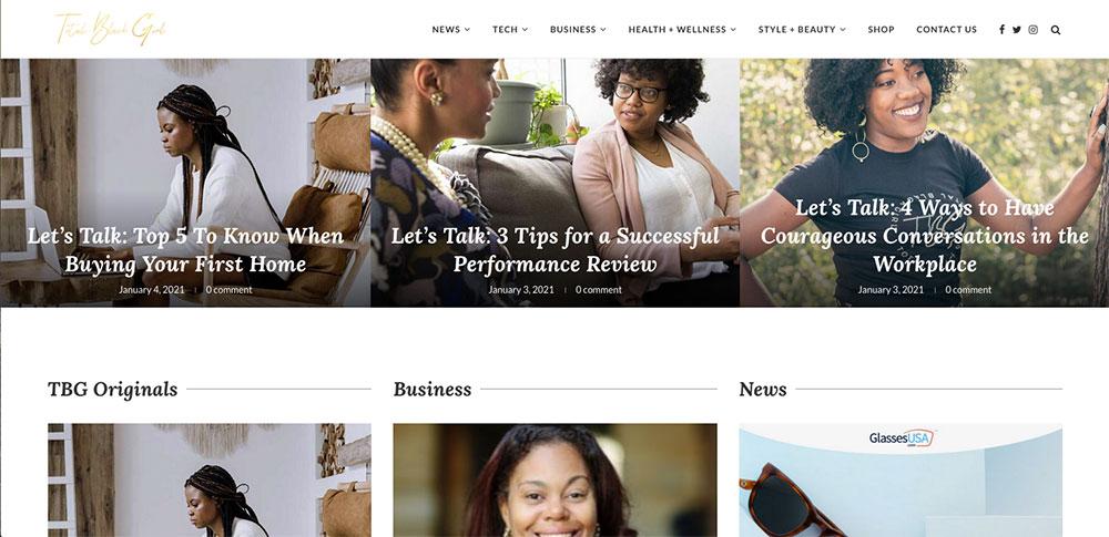 TBG website page