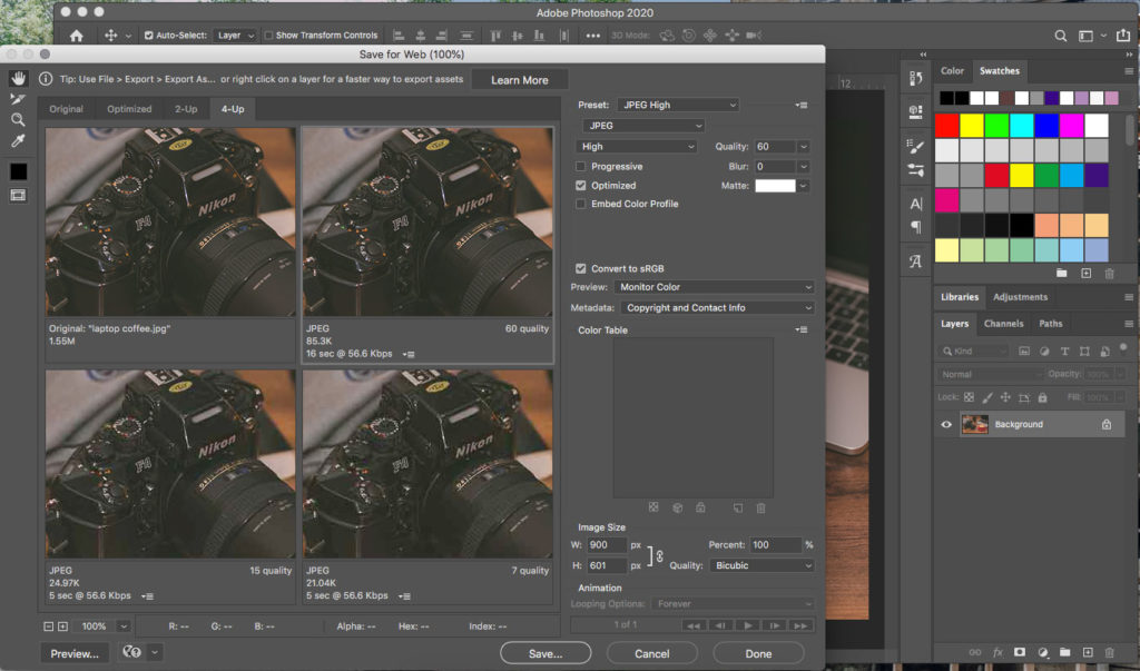 Screen capture of Photoshop export settings