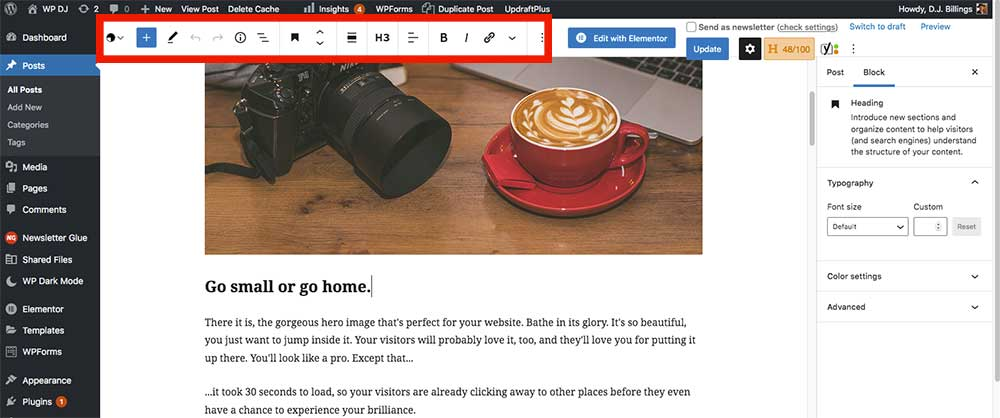 Screen capture of WordPress post editor with toolbar at the top.