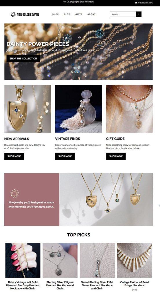 Screen capture of nine golden swans redesigned website front page