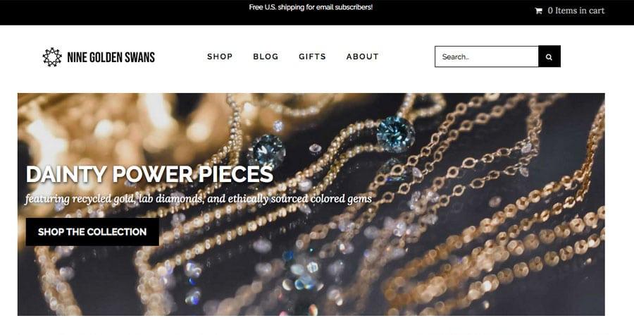 front page of nine golden swans website
