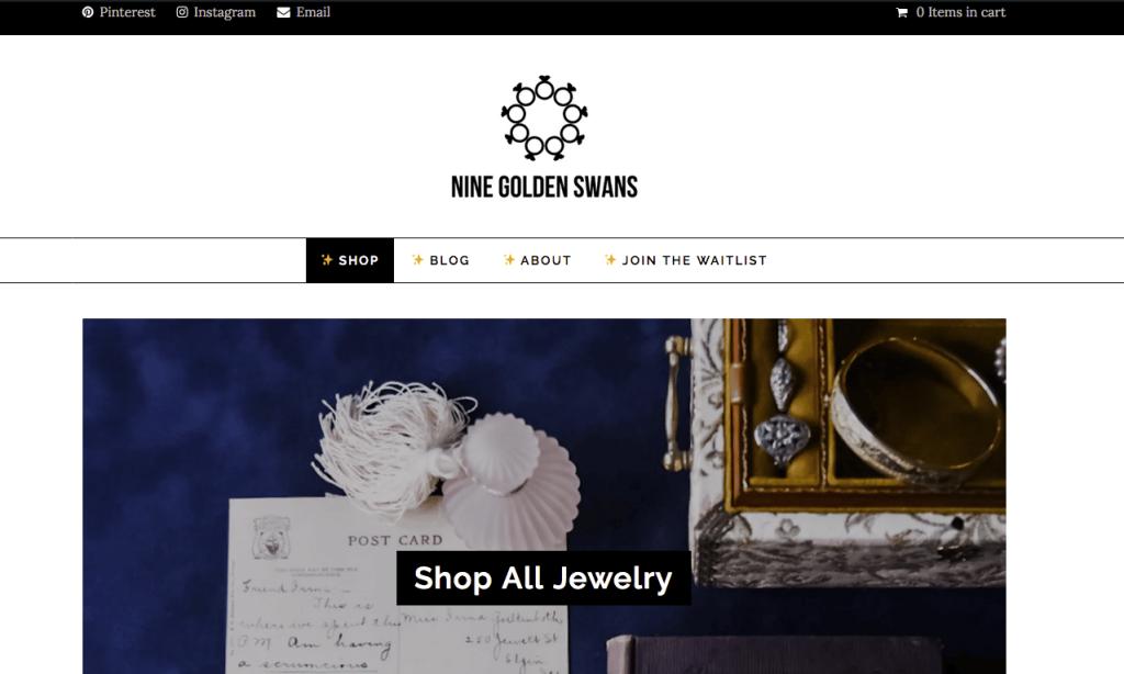 screen capture of original nine golden swans website